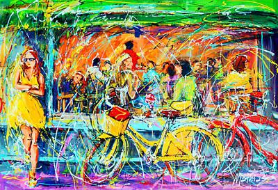 Cafe Of Amsterdam - Yellow Girl Print by Mathias