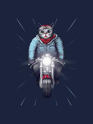 Cafe Racer Cat Print by Illustratorial