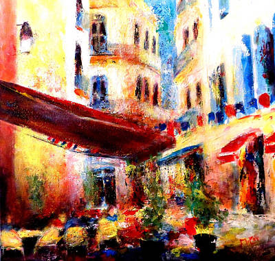 South Of France Painting - Cafe Scene by K McCoy