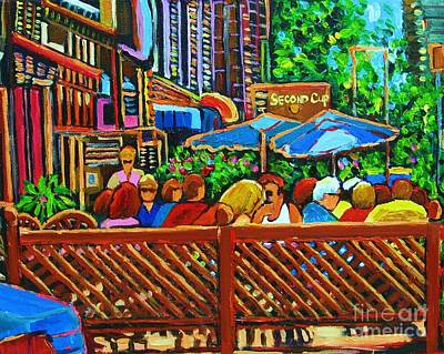 Montreal Street Life Painting - Cafe Second Cup by Carole Spandau