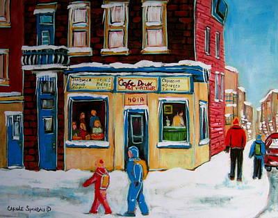 Montreal Buildings Painting - Cafe St. Viateur Montreal by Carole Spandau