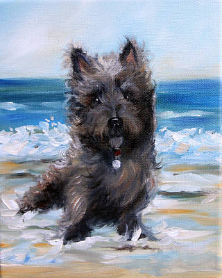 Puppies Painting - Cairn On The Beach by Mary Sparrow