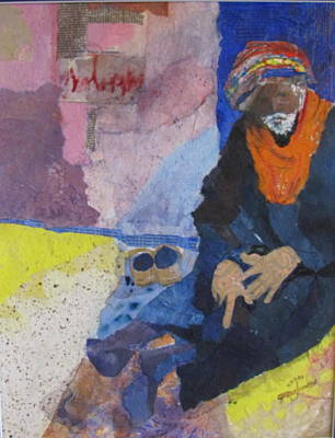Cairo Mixed Media - Cairo Street Beggar  by Carole Johnson