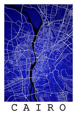Egypt Digital Art - Cairo Street Map - Cairo Egypt Road Map Art On Colored Backgroun by Jurq Studio