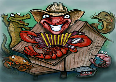 Crawfish Greeting Card - Cajun Critters by Kevin Middleton