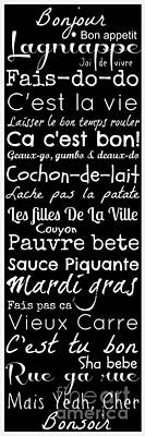 Cajun French Sayings Print by Susan Bordelon