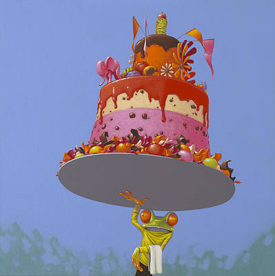 Frogs Painting - Cake by Jasper Oostland