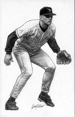 Orioles Drawing - Cal Ripken by Harry West