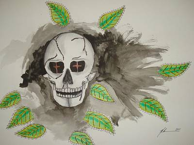 Wash Drawing - Calavera by Manny  Chapa