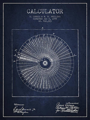 Calculator Patent From 1895 - Navy Blue Print by Aged Pixel