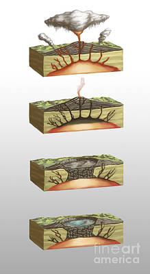 Caldera Formation, Illustration Print by Spencer Sutton
