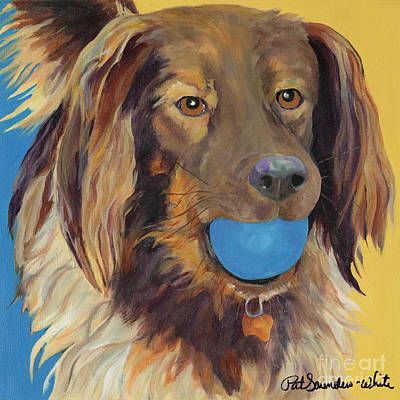 Dog Playing Ball Painting - Caleigh by Pat Saunders-White