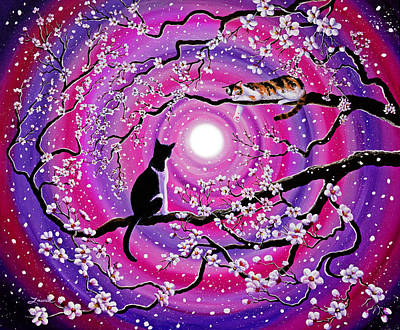 Cherry Blossoms Painting - Calico And Tuxedo Cats In Swirling Sakura by Laura Iverson