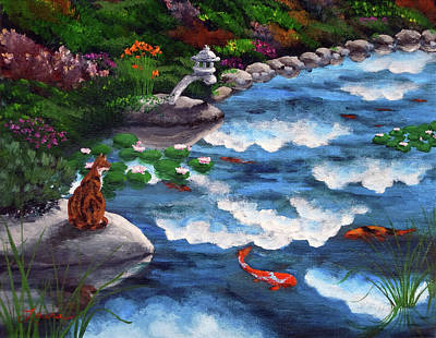 Calico Cat At Koi Pond Print by Laura Iverson