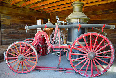 Ghost Town Painting - Calico Ghost Town Fire Engine by Barbara Snyder