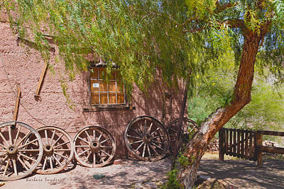 Ghost Town Painting - Calico Ghost Town Wagon Wheels by Barbara Snyder