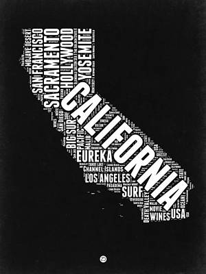 Yosemite National Park Digital Art - California Black And White Word Cloud Map by Naxart Studio