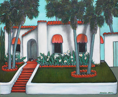 California Bungalow With Cat Original by Lorraine Klotz