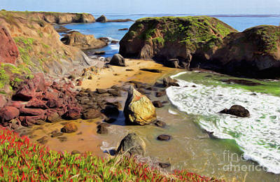 California Coast Rocks Cliffs Iceplant Ap Print by Dan Carmichael