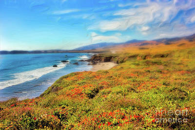 California Coast Wildflowers On Cliffs Ap Print by Dan Carmichael