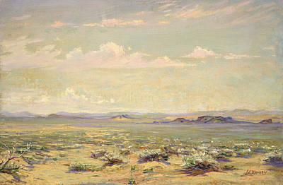 Sagebrush Painting - California Desert by Lewis A Ramsey