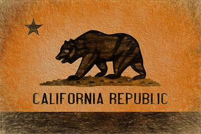 San Francisco Cali Digital Art - California Grunge Flag by Dan Sproul
