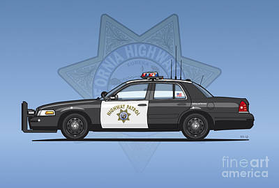 California Highway Patrol Ford Crown Victoria Police Interceptor Print by Monkey Crisis On Mars