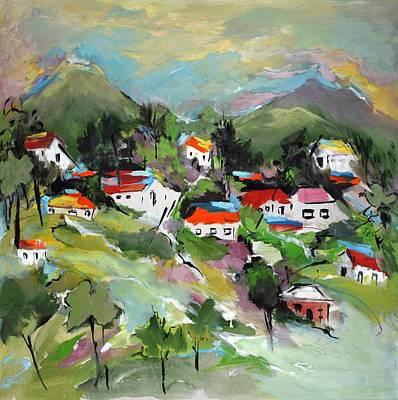 Los Angeles Skyline Painting - California Hills   by Mary Spyridon Thompson