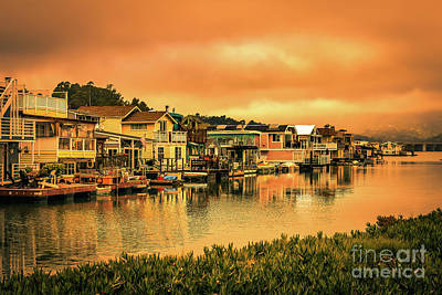 Sausalito Photograph - California Houseboats by Claudia M Photography