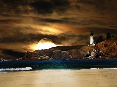 California Lighthouse Moon Print by Randall Branham