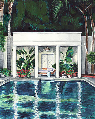 Malibu Painting - California Pool House Greek Revival by Laura Row