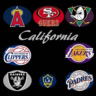 California Professional Sport Teams Collage  Print by Movie Poster Prints