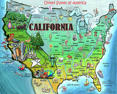 America Digital Art - California Usa by Kevin Middleton