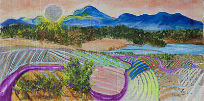 Hockney Painting - California Vineyard At Sunset by Sierra Logan