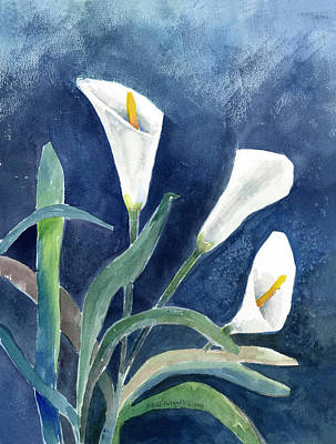 Watercolor Painting - Calla Lilies by Arline Wagner