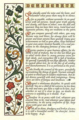 The Universe Mixed Media - Calligraphy Desiderata Watercolor Wildflower by Desiderata Gallery