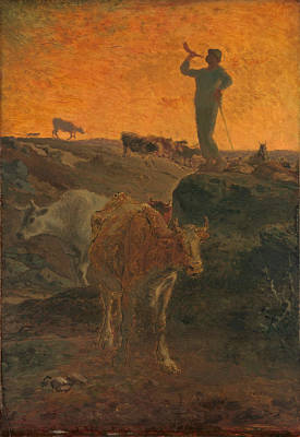Jean Francois Millet Painting - Calling The Cows Home by Jean Francois Millet