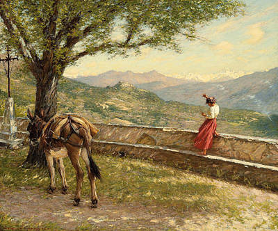 Calling To The Valley Print by Henry Herbert La Thangue