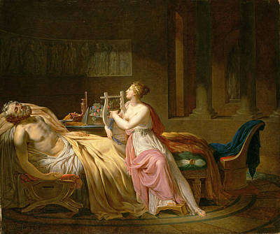 Homer Painting - Calliope Mourning Homer by Circle of Jacques-Louis David