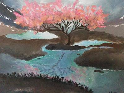 Pond Painting - Sweet Blossom  by Nura Abuosba