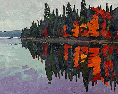 Calm Canoe Lake Reflections Original by Phil Chadwick