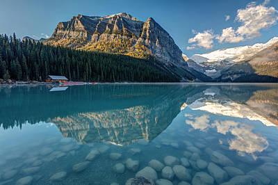 Snow Melt Photograph - Calm Lake Louise Reflection by Pierre Leclerc Photography