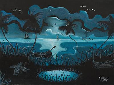 Calm Moonlit Sea Original by Herold Alvares