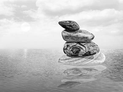 Calm Waters In Black And White Print by Gill Billington