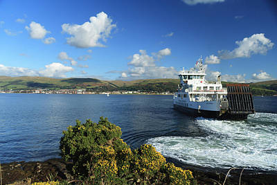 Photograph - Calmac Ferry Leaving The Cumbrae Slip by Alex Saunders