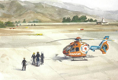 Helicopter Painting - Calstar Salinas Airpot by Margie Anderson