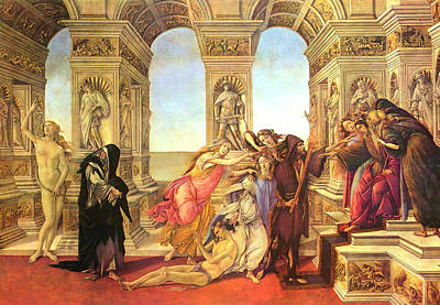 Greek School Of Art Painting - Calumny Of Apelles  by Sandro Botticelli