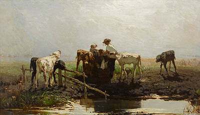 Painting - Calves At A Trough by Willem Maris