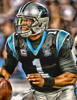 Newton Painting - Cam Newton Art 5 by Joe Hamilton