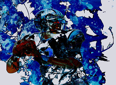 Tim Tebow Mixed Media - Cam Newton Dominating The Game by Brian Reaves